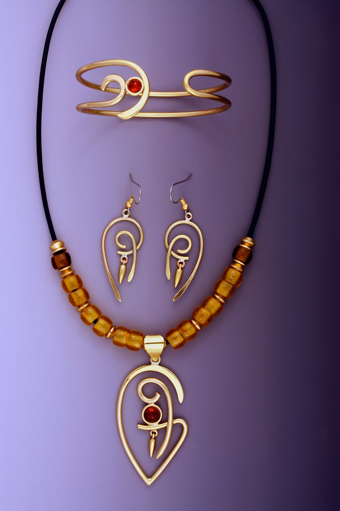 Tribal Link Ethnic copper and brass necklace, earrings and bracelet Set