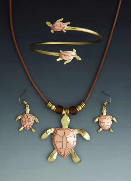Turtle copper and brass necklace, earrings and bracelet jewelry set