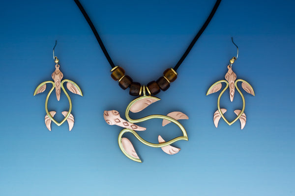 Wire Turtle copper and brass necklace and earrings jewelry set