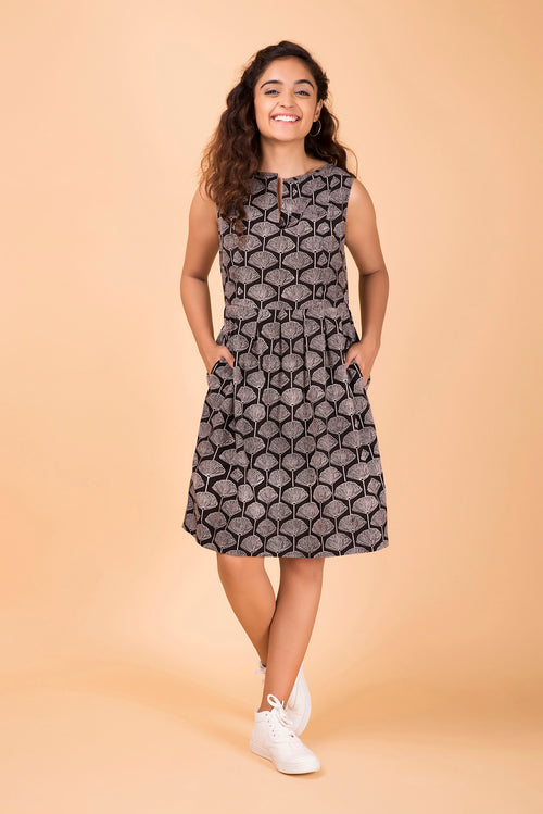 Mandarin Bloom Black Dress