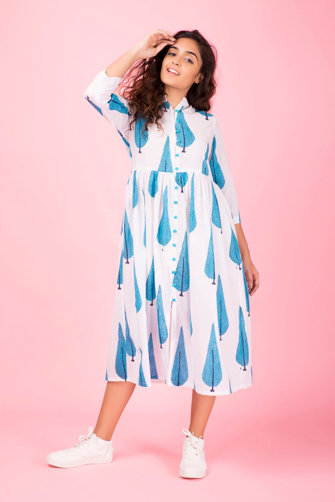 Blue-Willow Midi Dress