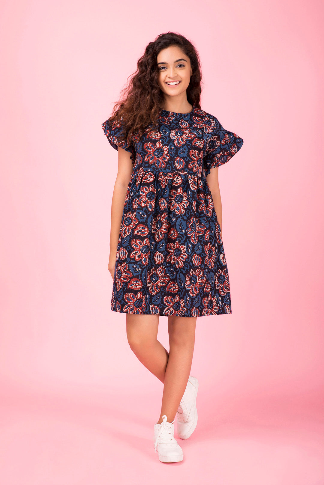Indigo Ruffled Short Dress