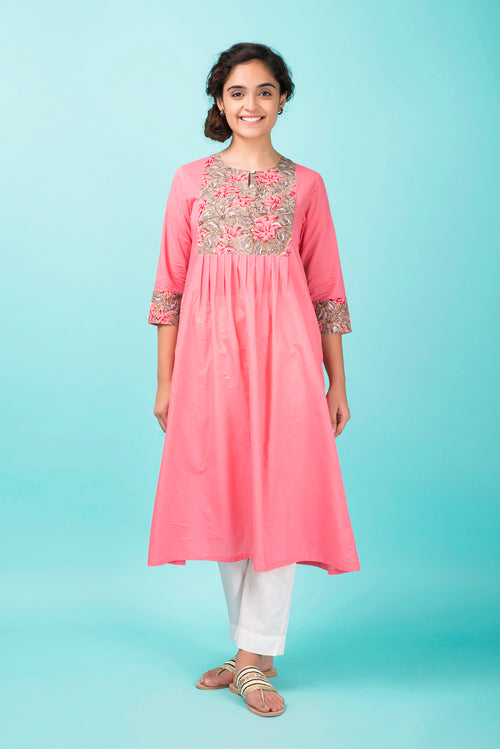 French Rose Colorblock Kurta