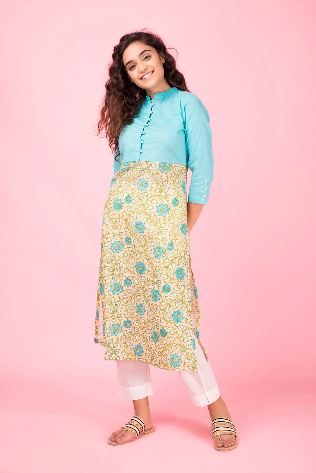 Aqua Colorblock Kurta