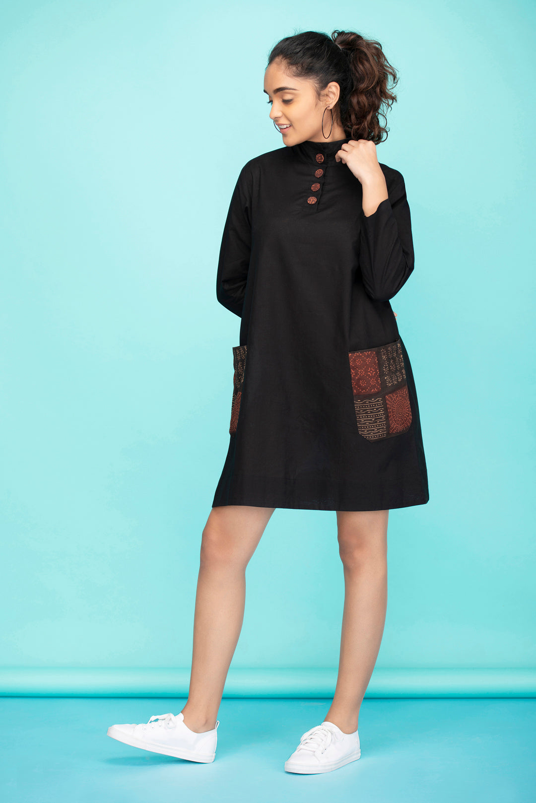 Black Colorblock Pocket Dress