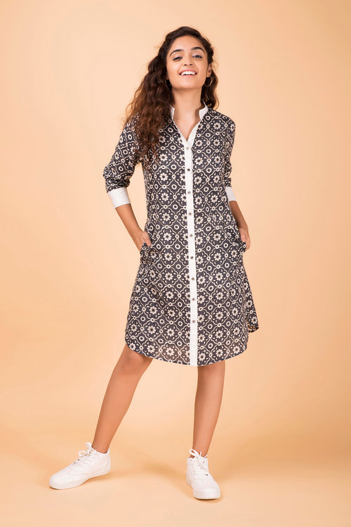 Charcoal Button-Down Shirt Dress