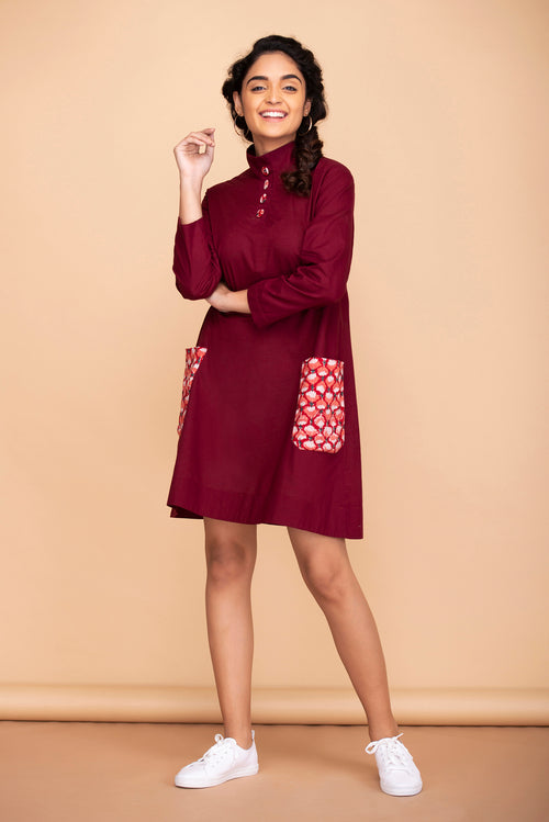 Mulberry Colorblock Pocket Dress