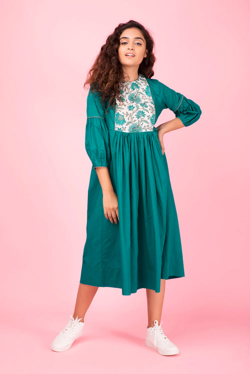 Emerald Colorblock Dress