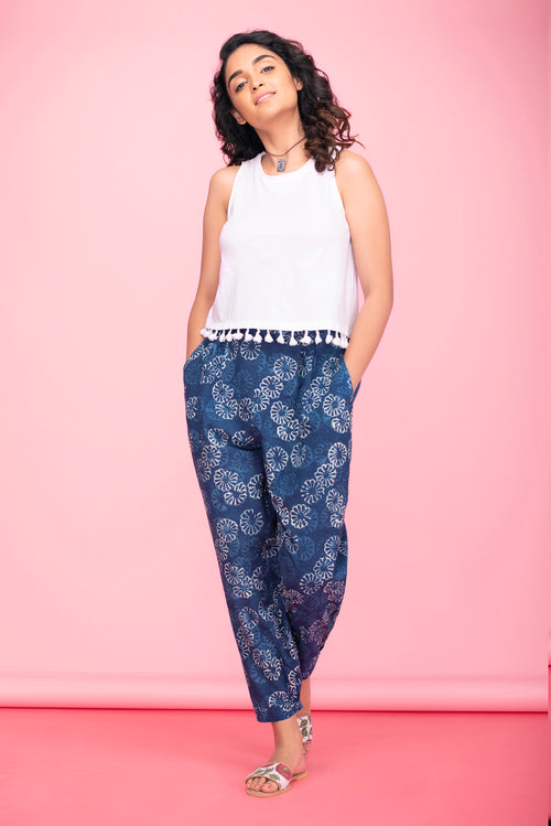 Indigo Flower Baggy Pants