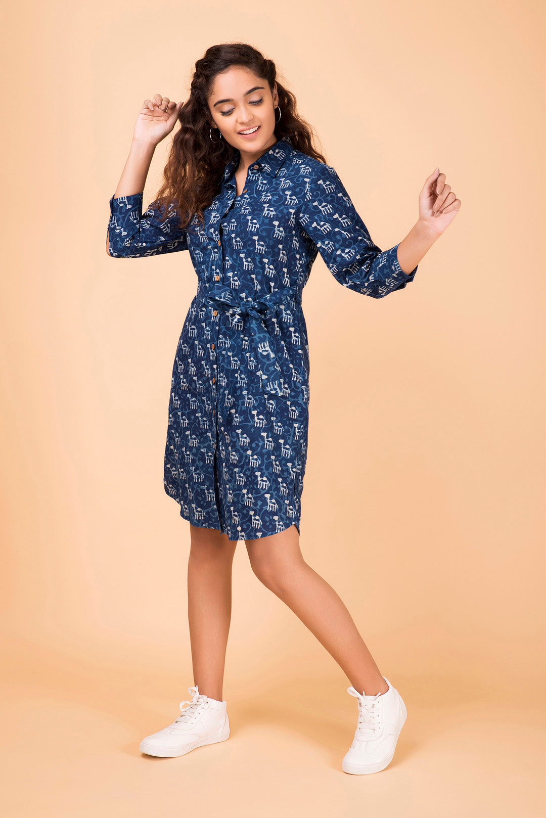 Indigo Button-Down Shirt Dress
