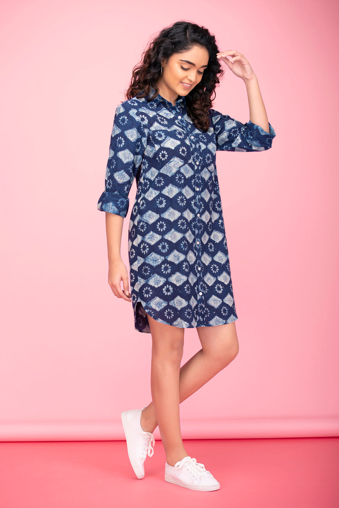 Indigo Aztec Shirt Dress