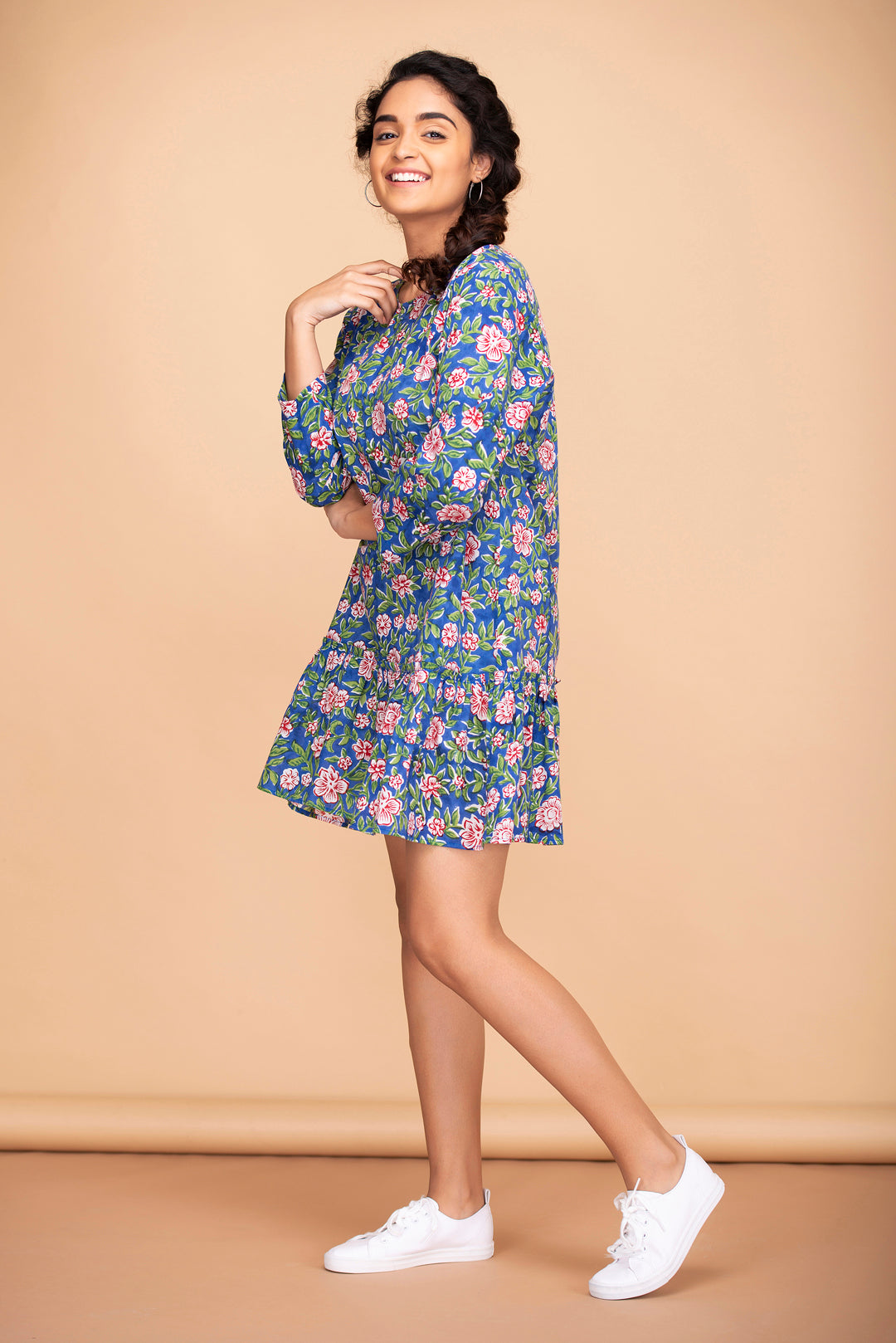 Floral Back Buttoned Dress