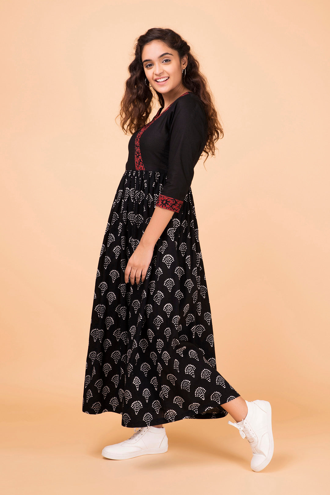 Black Uchiwa Wrap Dress
