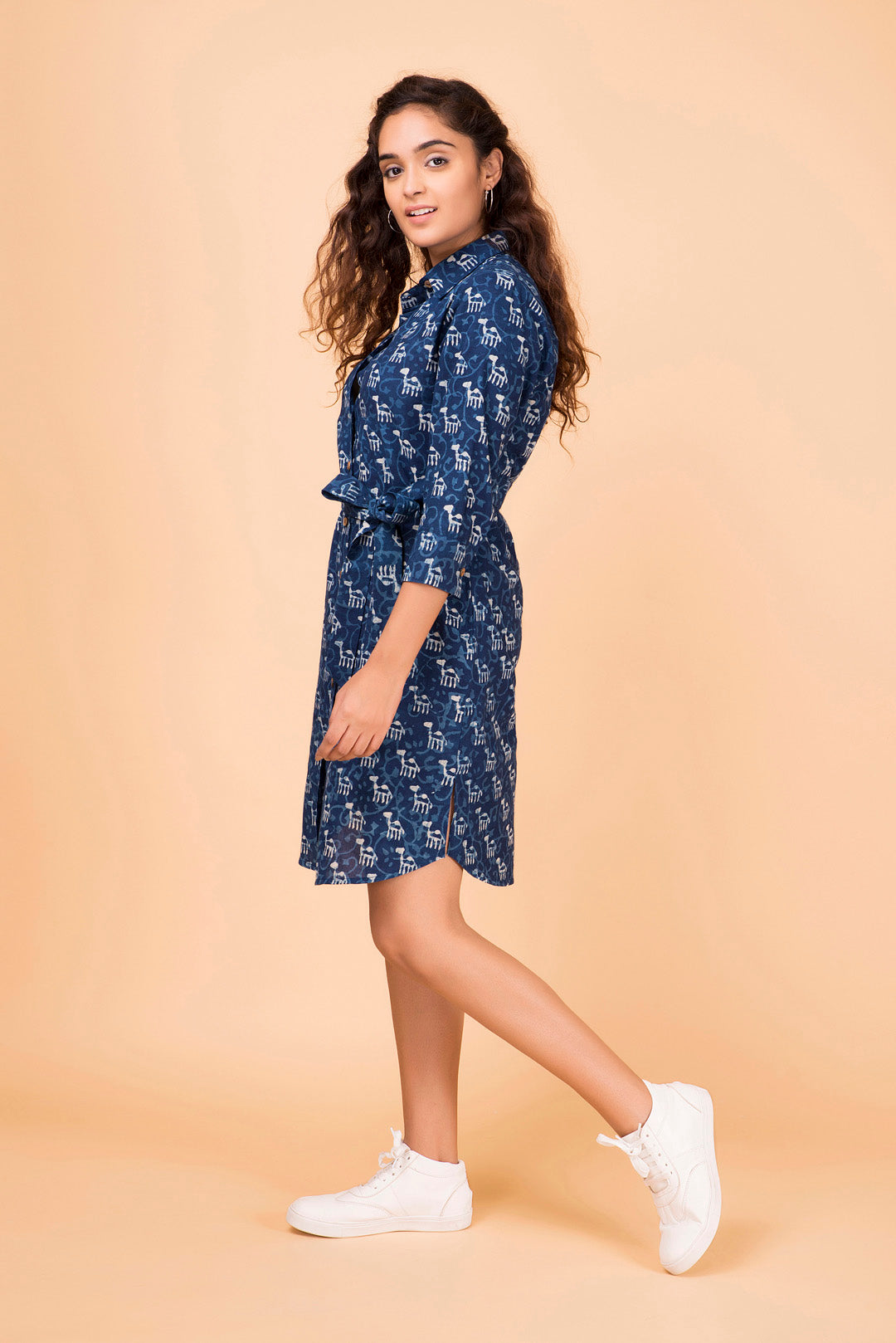 Indigo Button Down Shirt Dress