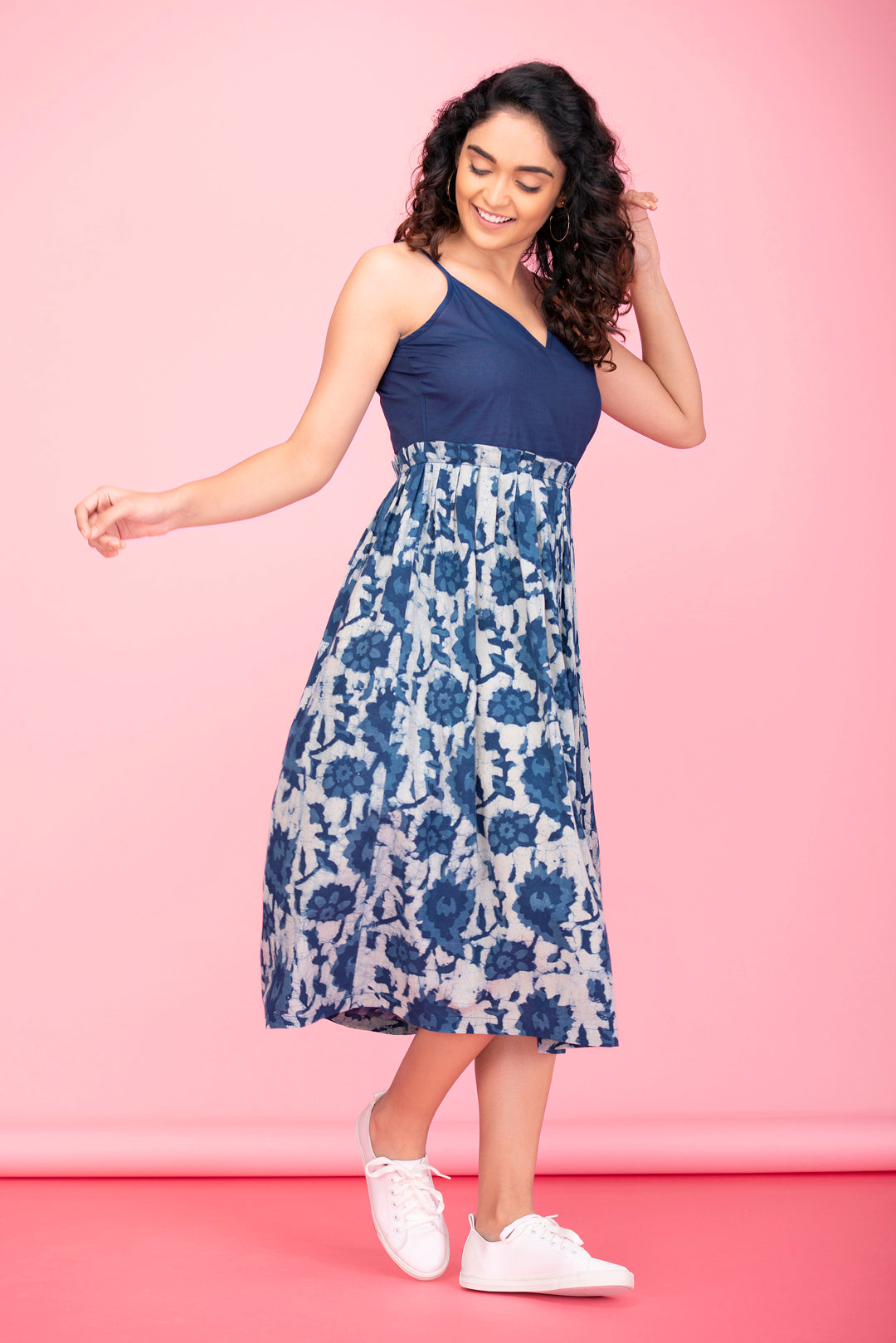 Indigo Bloom Strappy Dress