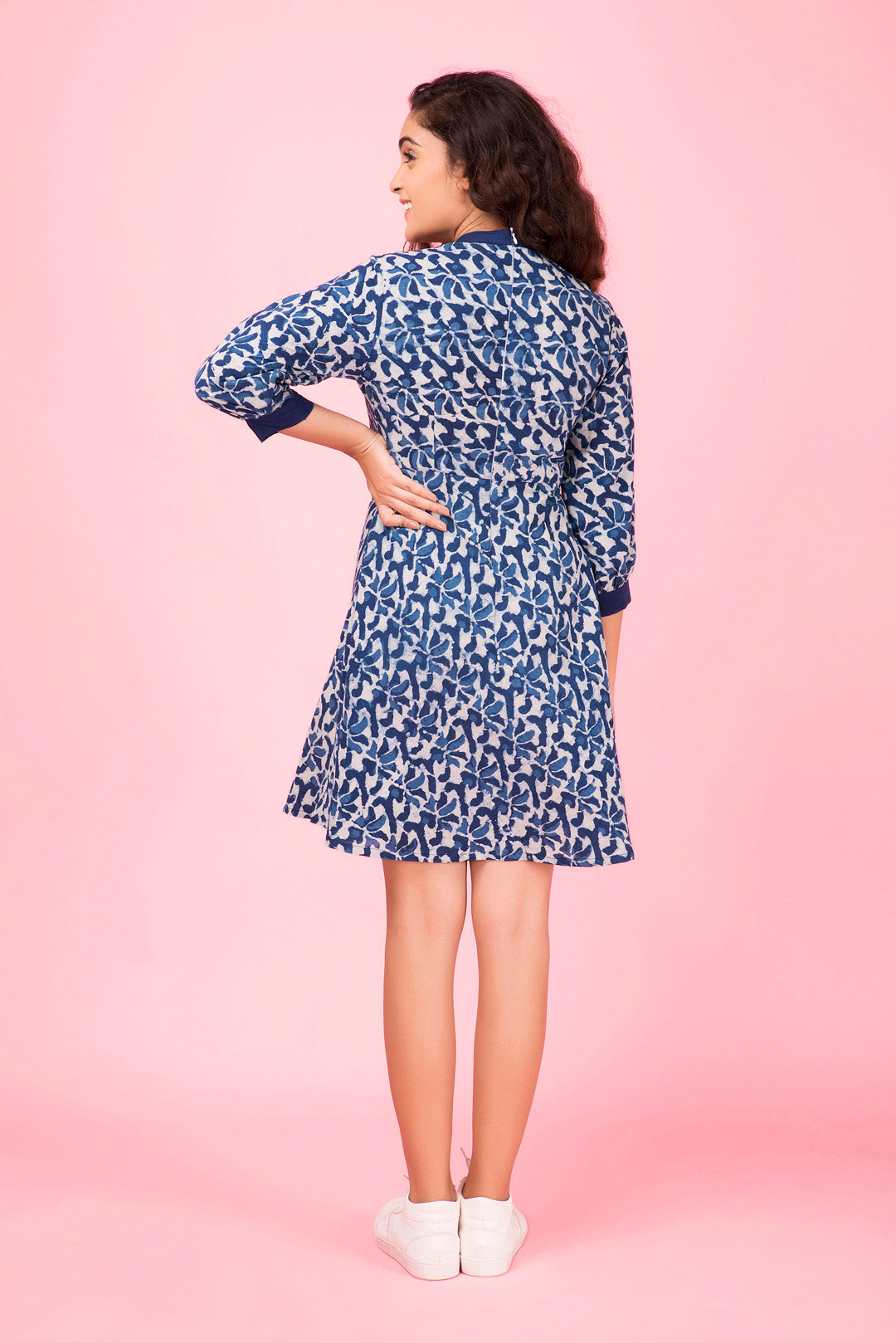 Indigo Petal Mini Dress