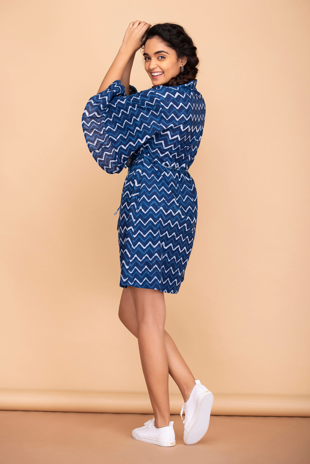 Indigo Zigzag Shirt Dress