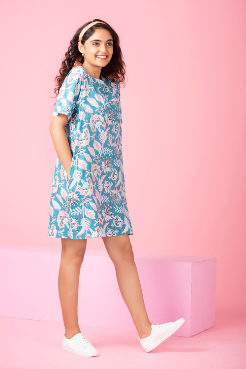 Aqua Flower T-Shirt Dress