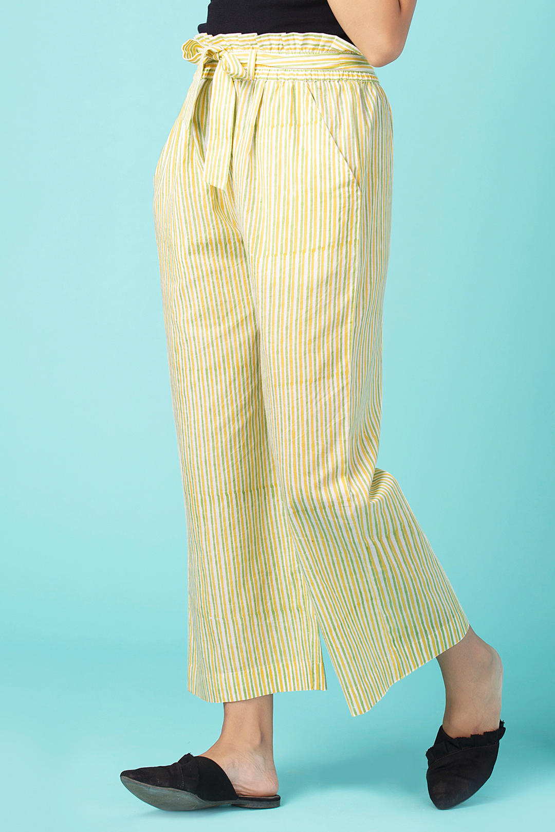Banana Striped Paperbag Pants