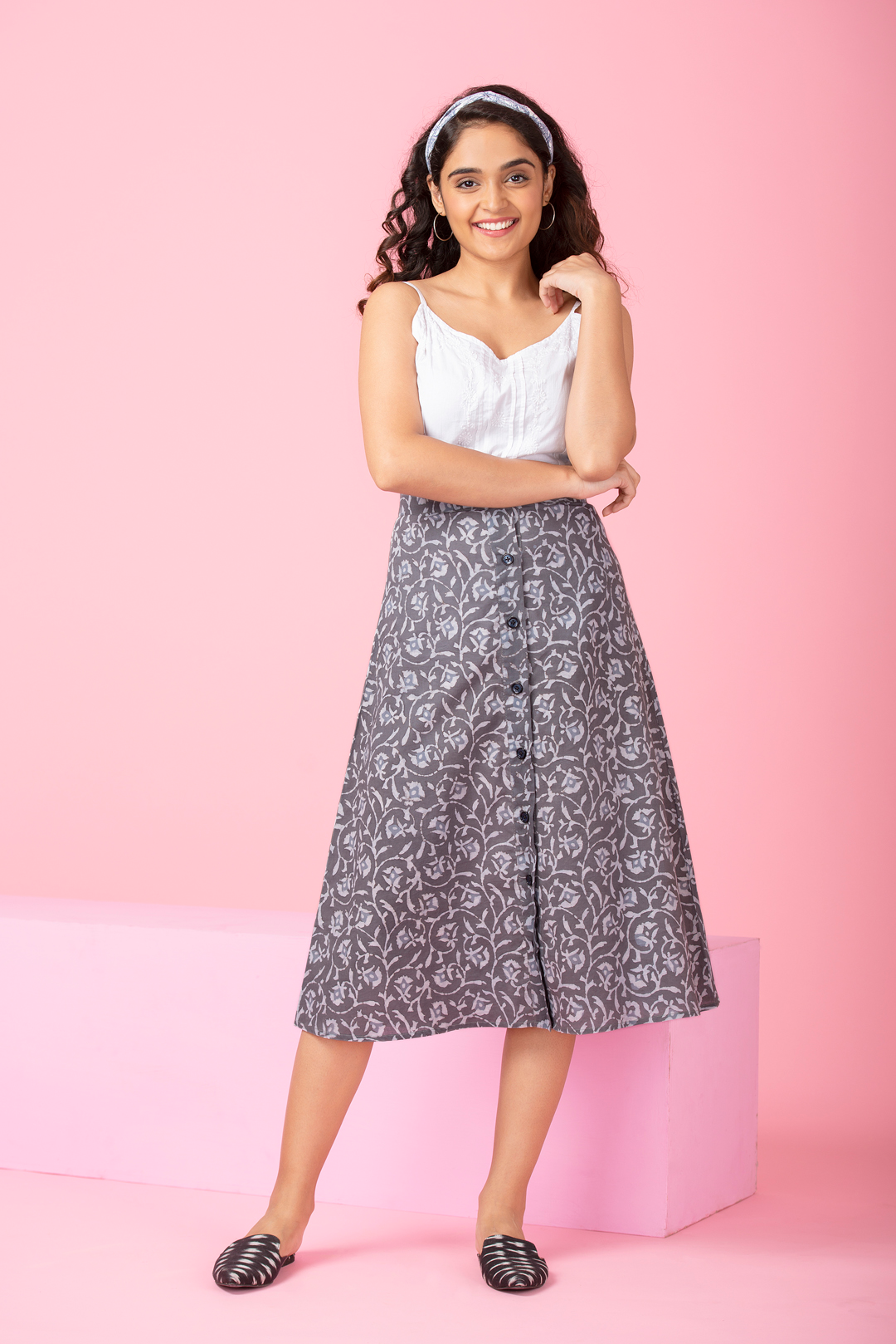 Bellflower Buttoned Skirt