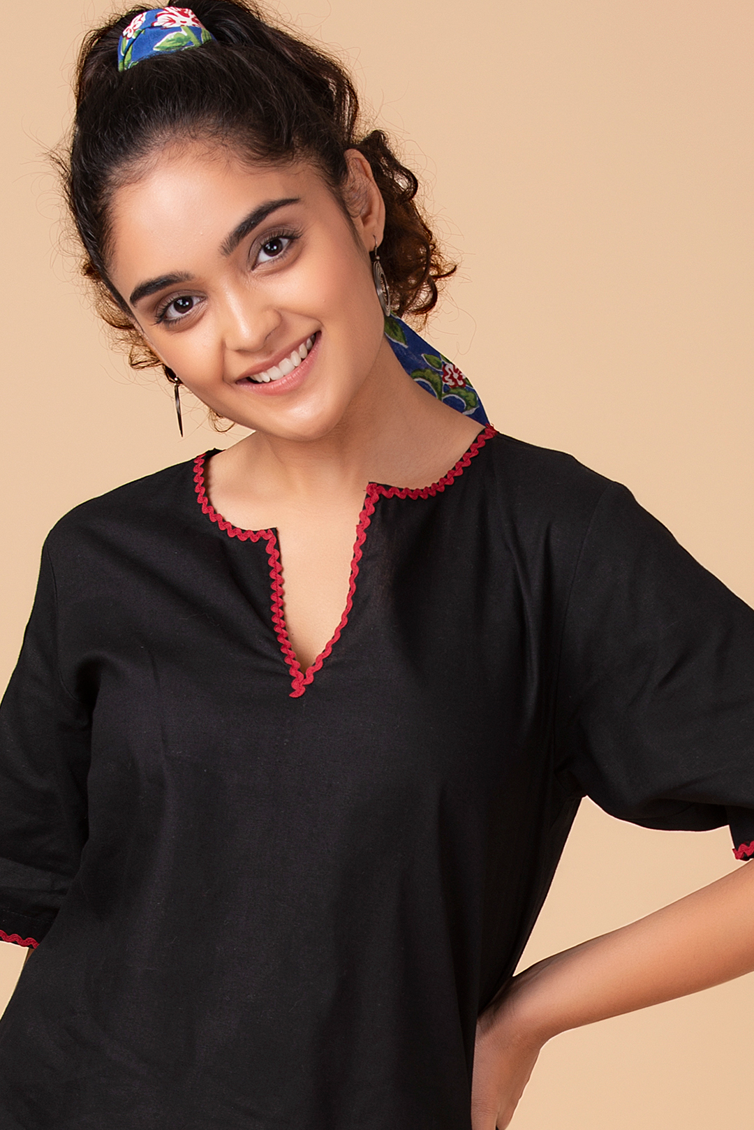Black Contrasting Trim Top