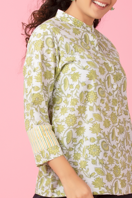 Chartreuse Floral Shirt