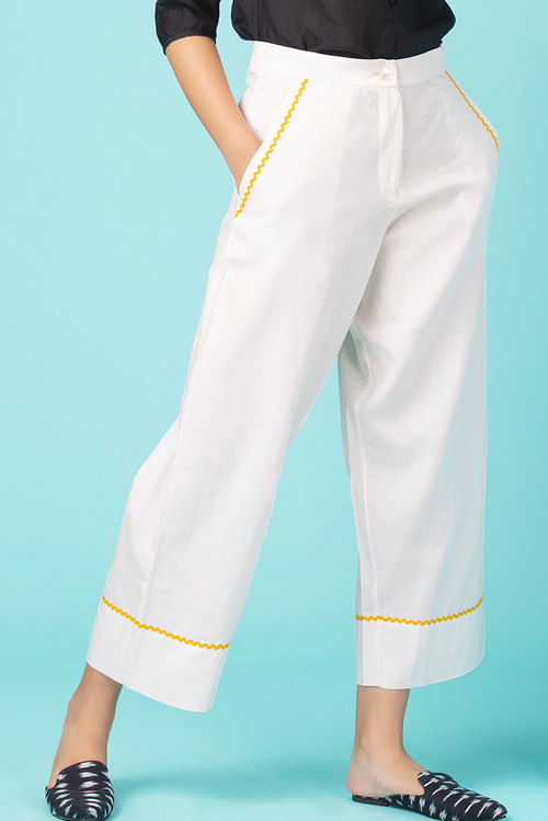 Ivory Contrasting Trim Pants