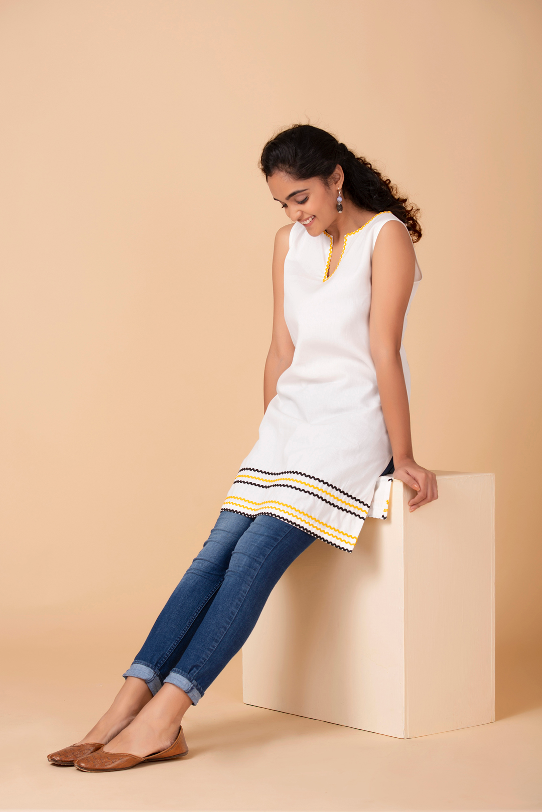 Ivory Contrasting Trim Tunic
