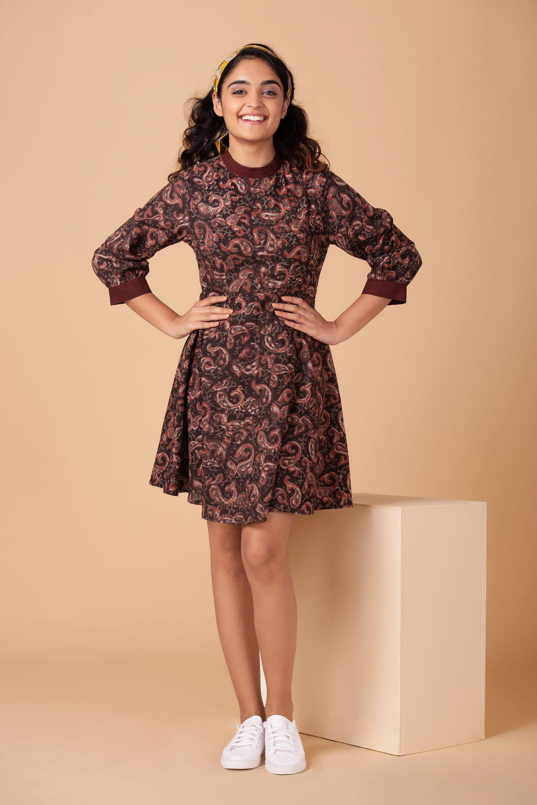 Mocha Paisley Mini Dress