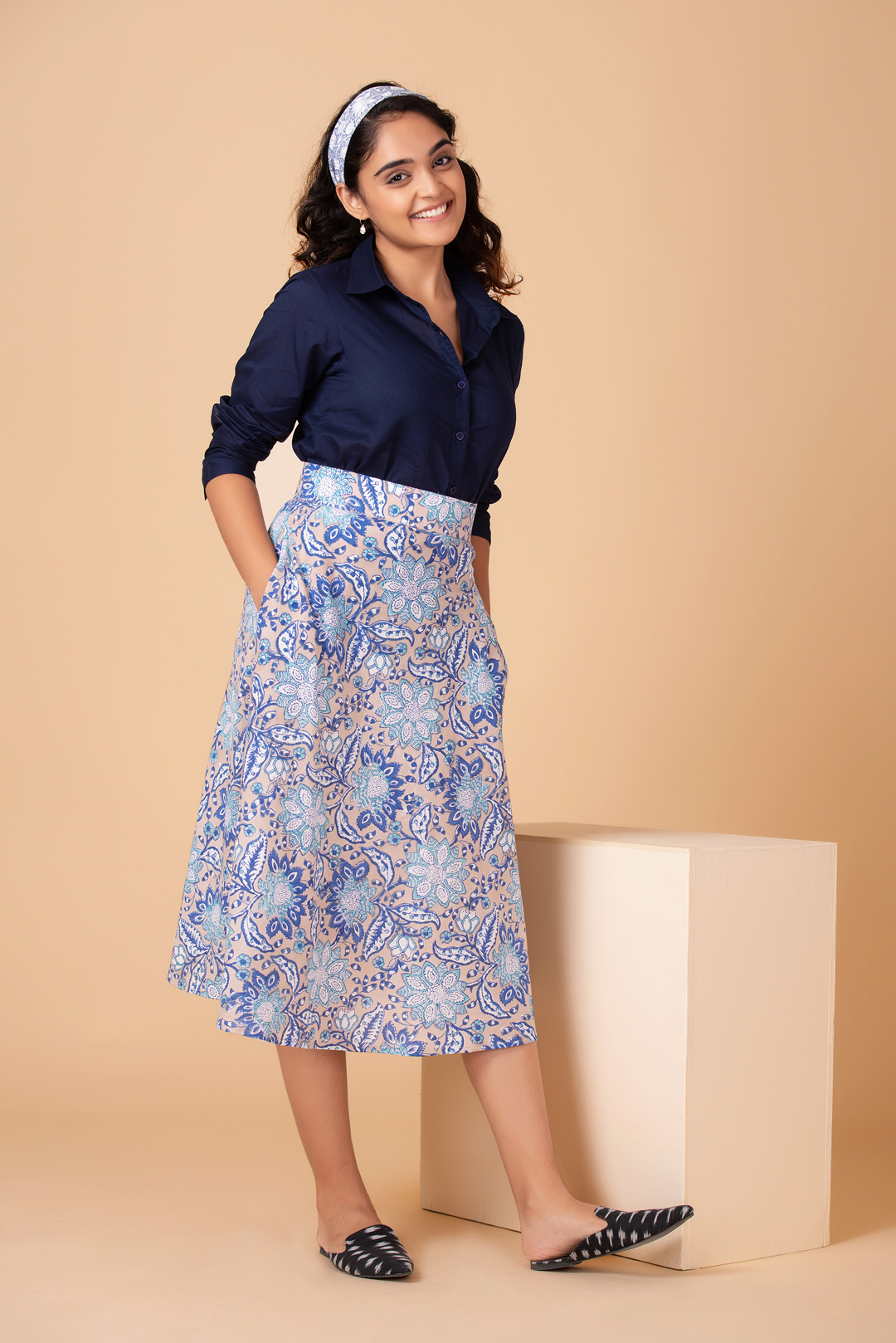 Nikko Blue Flared Skirt