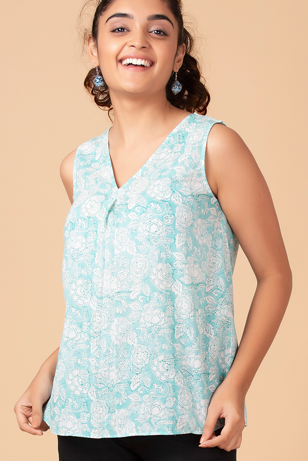 Summer Mint Pleated Top
