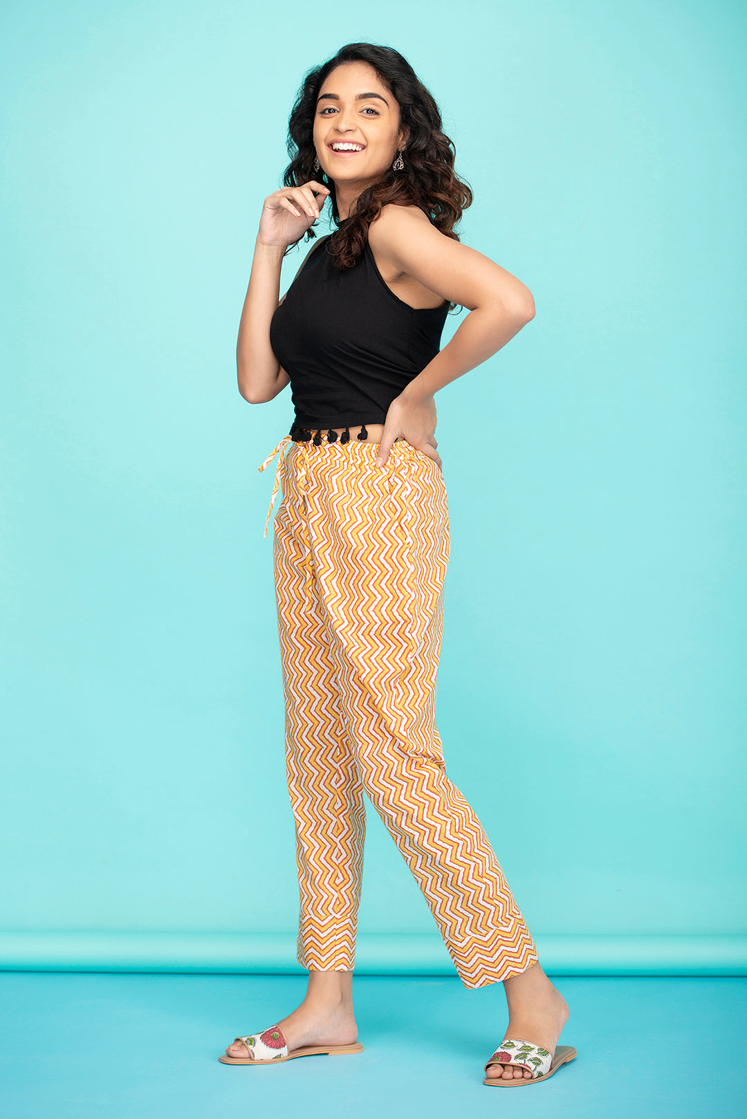 Chevron Drawstring Pants