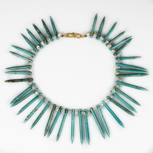 statement turquoise necklace, pearl and spikes necklace