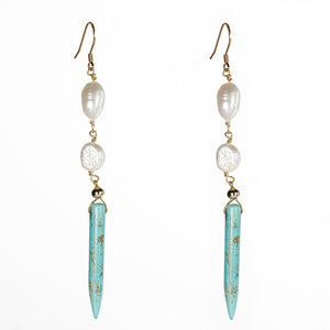 Bombom Heat Turquoise and Pearl Earrings