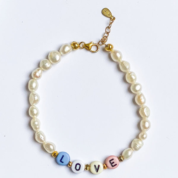 pearl with word bracelet