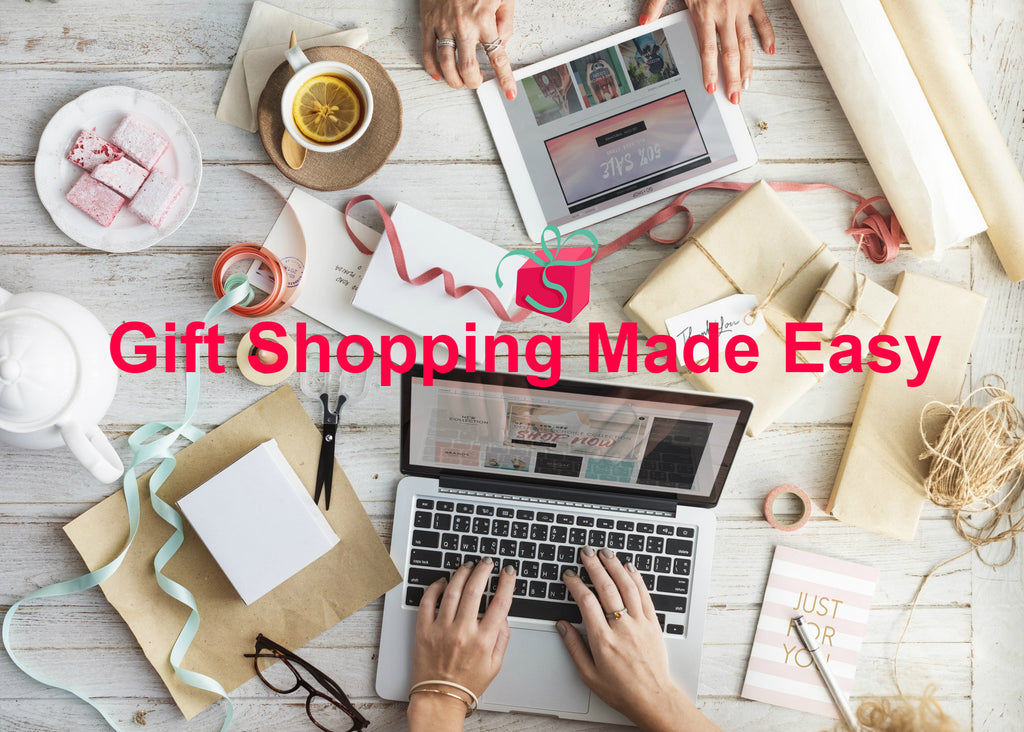 Gift shopping made easy online from home using a laptop