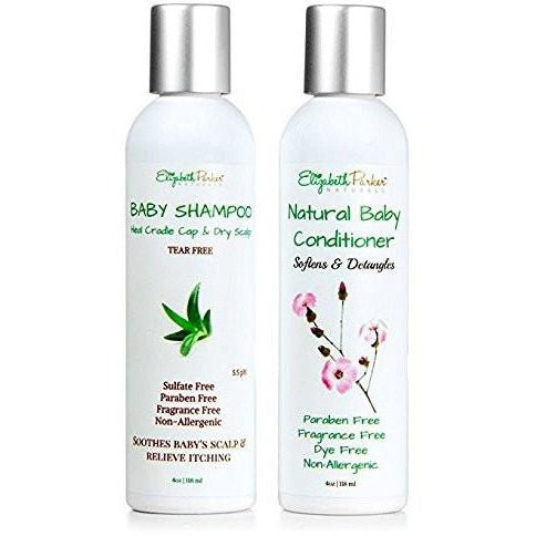 Organic Baby Shampoo and Conditioner Set for Sensitive Skin by Elizabeth Parker Naturals (8oz)