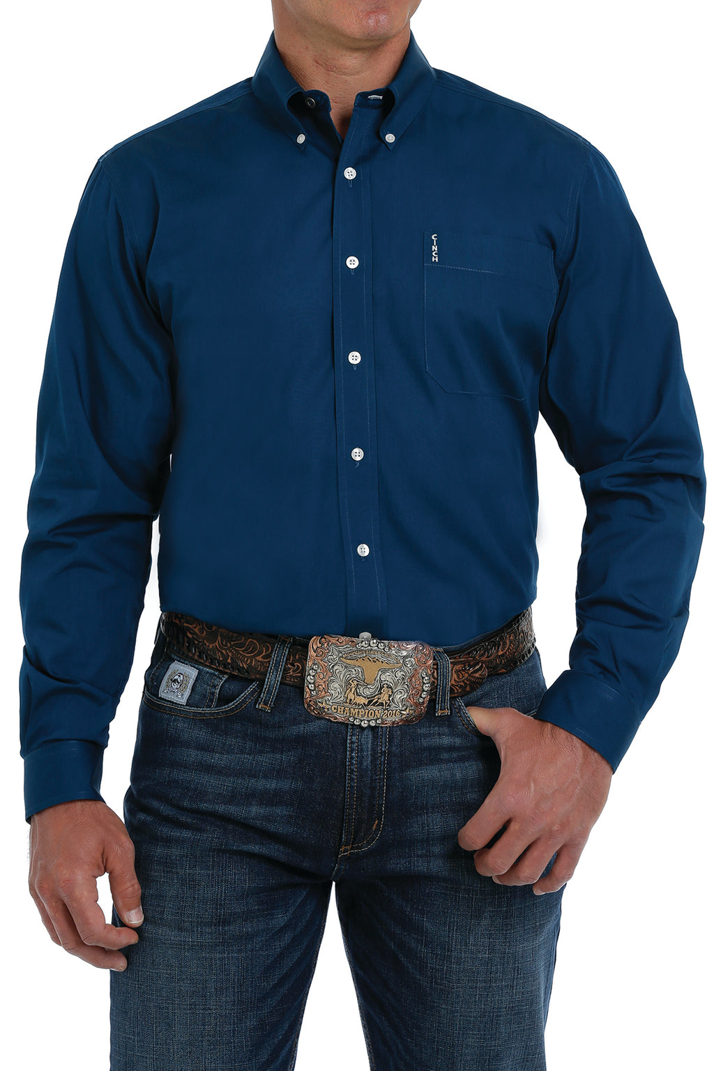 CINCH Men's Modern Fit Blue Button - Down Shirt