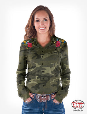COWGIRL TUFF Women's Camo And Floral Embroidered Sport Jersey Pullover Button - Up