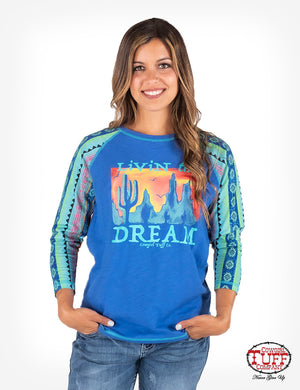 "COWGIRL TUFF Women's Navy Heather 3/4 Sleeve Tee W/ Rainbow Aztec Sleeves & ""Livin' The Dream"" Graphic"