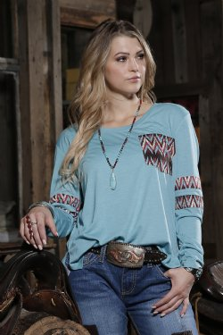 CRUEL GIRL Women's Turquoise Long Sleeve Tee