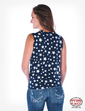 COWGIRL TUFF Women's Dark Blue Sleeveless Tee With Start Print And Knotted Front Hem
