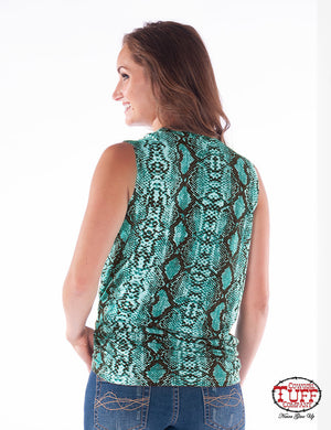 COWGIRL TUFF Women's Turquoise Snakeskin Print Sleeveless Tee With Knotted Front Hem And Keyhole Neckline