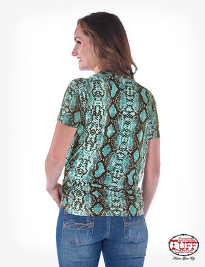 COWGIRL TUFF Women's Turquoise Snakeskin Print Short Sleeve V-Neck Tee With Knotted Hem