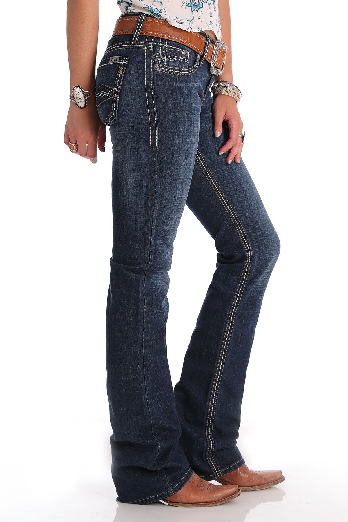 CRUEL GIRL Women's Abby Dark Stonewash Slim Fit Jean