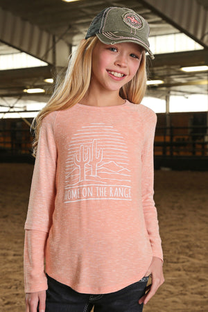 CRUEL GIRL Girl's Coral Long Sleeve Home On The Range Tee