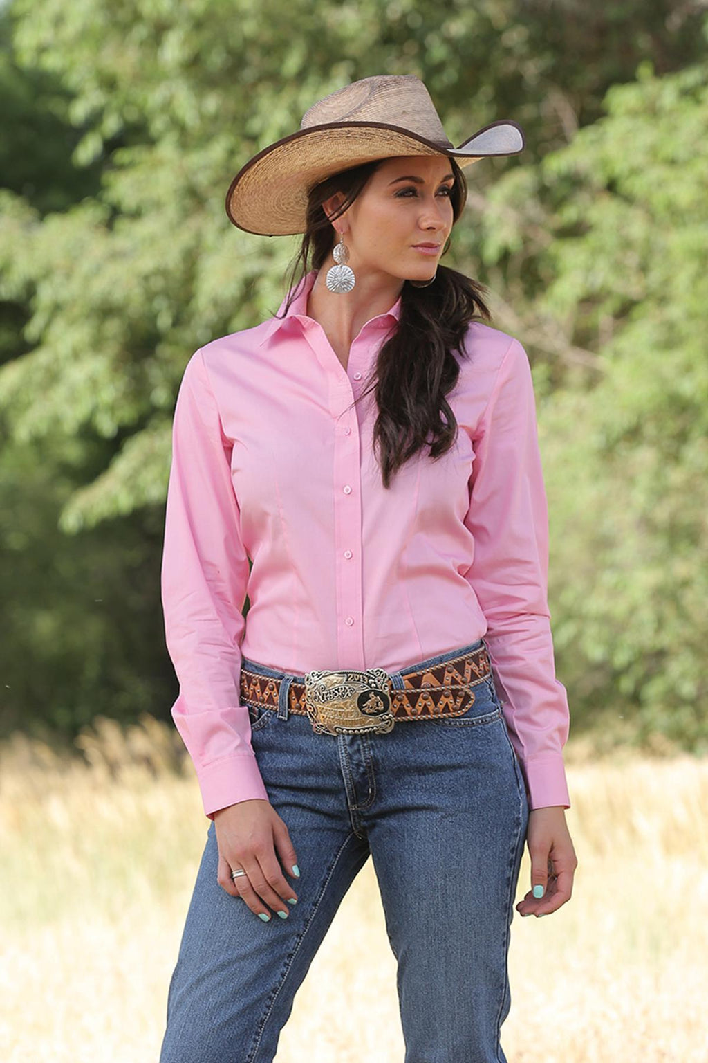 Cruel Girl Womens Solid Long Sleeve Pink Button Up