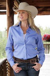 MILLER RANCH Women's Blue Solid Pinpoint Button-Down Western Shirt