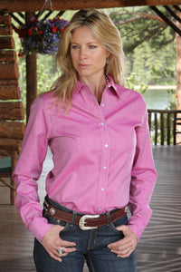 MILLER RANCH Women's Pink Pinpoint Button-Down Western Shirt