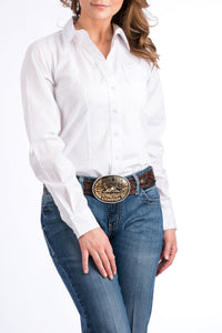 CINCH Women's Solid White Button-Down Western Shirt